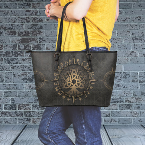 1stIceland Viking Leather Tote Bags, Yggdrasil Runes Circle K7 - 1st Iceland