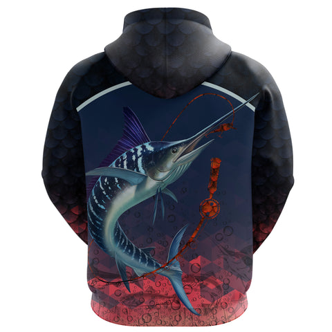 1stIceland Marlin Fishing Zip Up Hoodie K8 - 1st Iceland