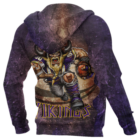 1stIceland Viking Zip Up Hoodie, Minnesota Vikings Football K4 - 1st Iceland