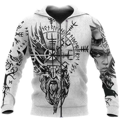 Image of 1stIceland Viking Valkyrie Zip Hoodie Odin's Raven Valknut Helm Of Awe TH5