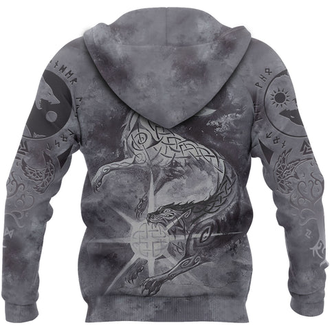 Image of 1stIceland Viking Zip Hoodie, Skalli And Hati with Fenrir Yggdrasil TH5 - 1st Iceland