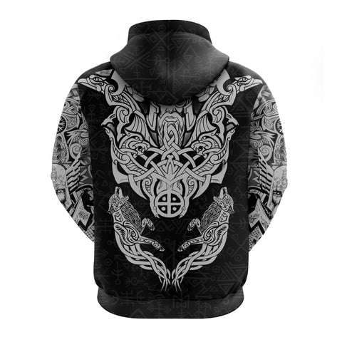 1stIceland Viking Zip Hoodie Odin With Hungin and Munin TH5