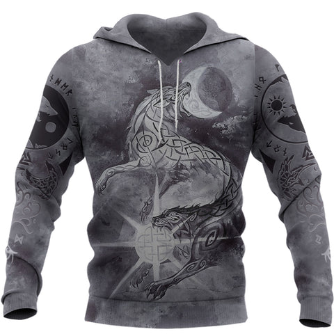Image of 1stIceland Viking Hoodie, Skoll And Hati with Fenrir Yggdrasil TH5 - 1st Iceland