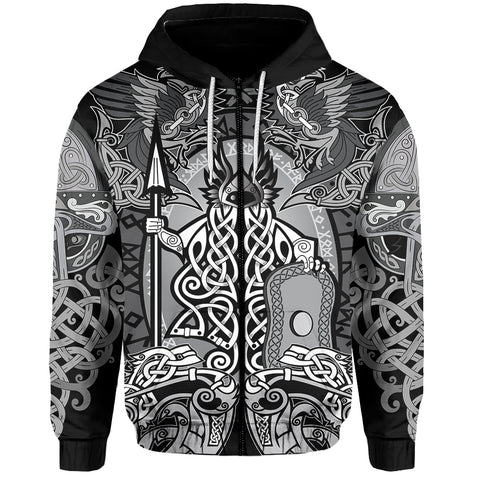 1stIceland Viking Zip Hoodie- Raven Of Odin Valknut TH5 - 1st Iceland