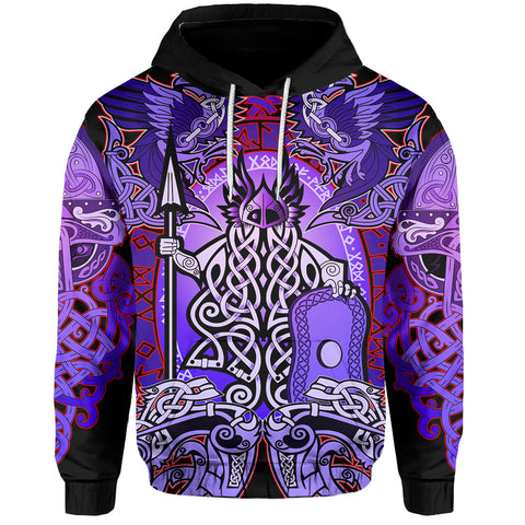 1stIceland Viking Pullover Hoodie, Purple Colorful Odin Raven Th5 - 1st Iceland