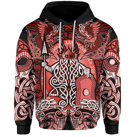 1stIceland Viking Pullover Hoodie, Red Odin Raven Th5 - 1st Iceland