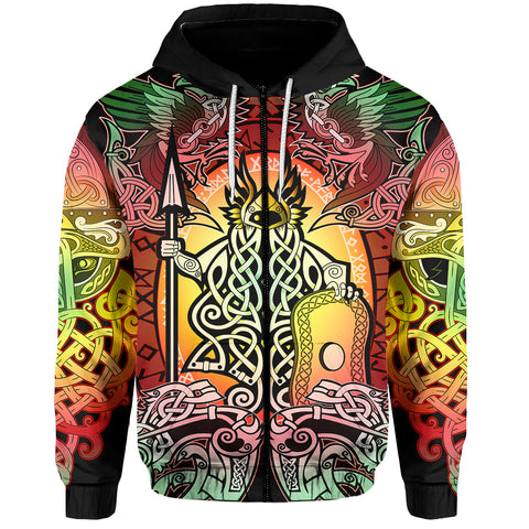 1stIceland Viking Zip Up Hoodie, Reggae Colorful Odin Raven TH5 - 1st Iceland
