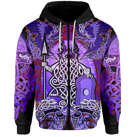 1stIceland Viking Zip Up Hoodie, Purple Colorful Odin Raven TH5 - 1st Iceland