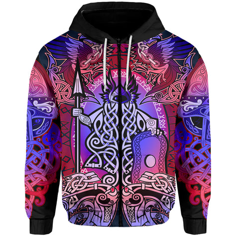 1stIceland Viking Zip Up Hoodie, Colorful Odin Raven TH5 - 1st Iceland