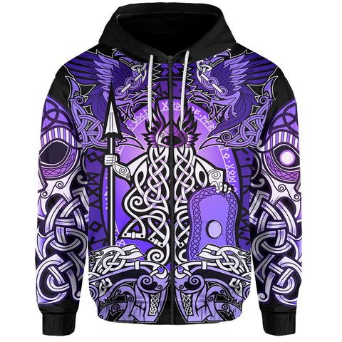 1stIceland Viking Zip Up Hoodie - Odin with The Raven Of Odin TH5 - 1st Iceland