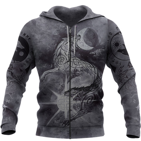 1stIceland Viking Zip Hoodie, Skoll And Hati  with Fenrir Yggdrasil TH5 - 1st Iceland