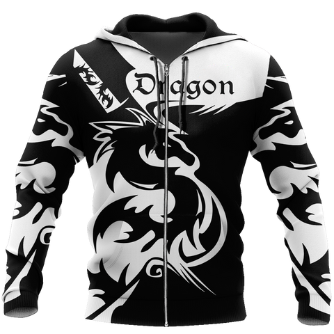 Image of 1sticeland Black dragon Zip Hoodie TH12 - 1st Iceland