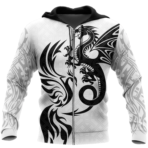 1sticeland White Dragon And Phoenix Zip Hoodie TH12 - 1st Iceland