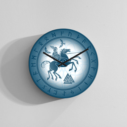 1stIceland Wall Clock, Odin Sleipnir Runes Circle TH0 - 1st Iceland