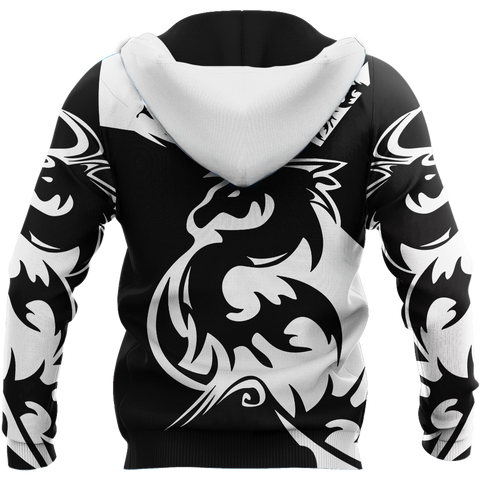 1sticeland Black dragon Zip Hoodie TH12 - 1st Iceland