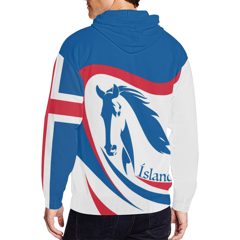Image of 1stIceland Zip Up Hoodie, Icelandic Horse Flag TH0 - 1st Iceland