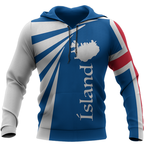 1stIceland Pullover Hoodie, Iceland Flag MapCoat Of Arms TH50 - 1st Iceland