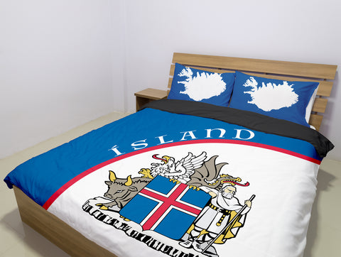 Image of 1stIceland Bedding Set, Ísland Coat Of Arms Map TH0 - 1st Iceland