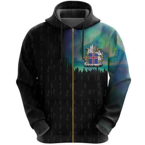 1stIceland Zip Up Hoodie, Runes Northern Lights Iceland Coat Of Arms K7 - 1st Iceland