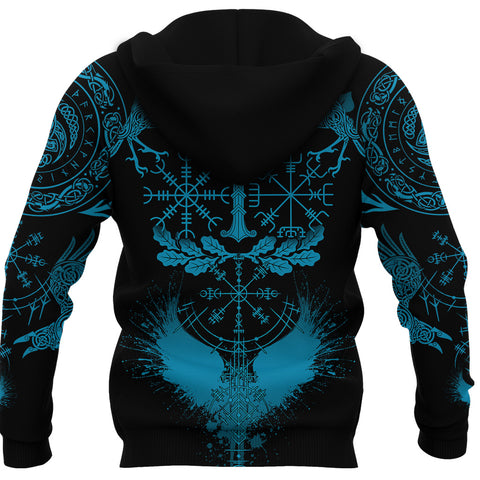 1stIceland Viking Oak Leaf Zip Hoodie Valknut Vegvisir With Irminsul - Blue K8