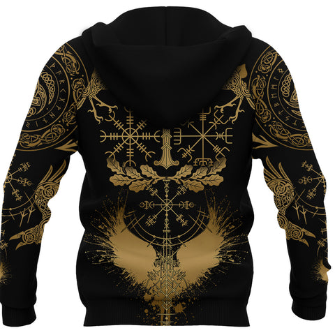 1stIceland Viking Oak Leaf Hoodie Valknut Vegvisir With Irminsul - Gold K8
