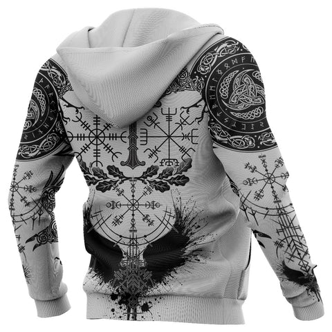 1stIceland Viking Oak Leaf Zip Hoodie Valknut Vegvisir With Irminsul - White K8