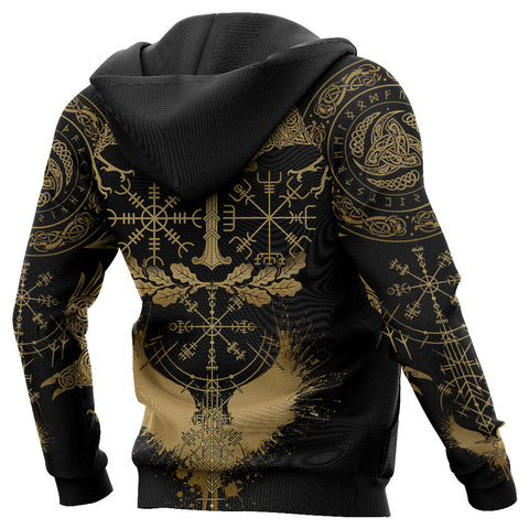 1stIceland Viking Oak Leaf Zip Hoodie Valknut Vegvisir With Irminsul - Gold K8