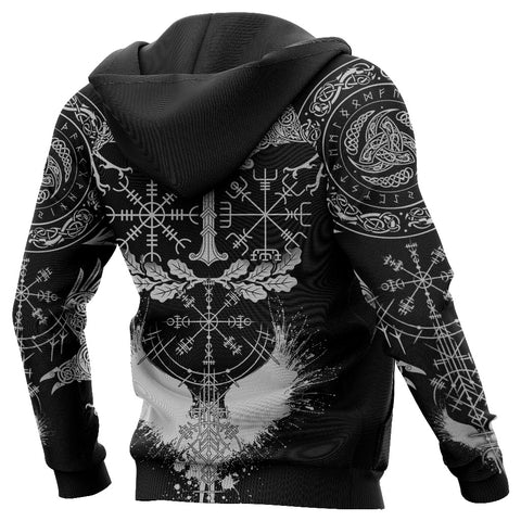 1stIceland Viking Oak Leaf Hoodie Valknut Vegvisir With Irminsul - Black K8
