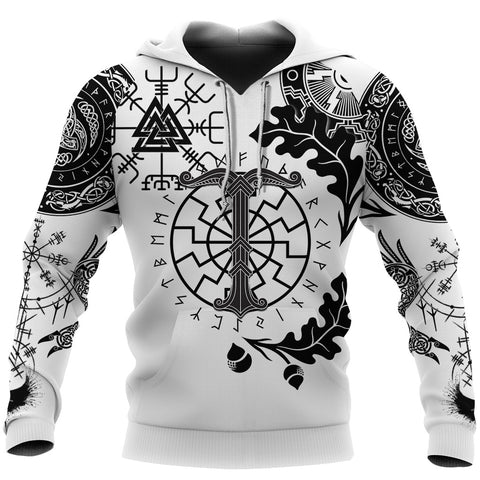 1stIceland Viking Oak Leaf Hoodie Valknut Vegvisir With Irminsul - White