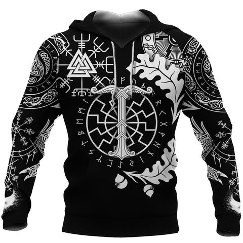 1stIceland Viking Oak Leaf Hoodie Valknut Vegvisir With Irminsul - Black