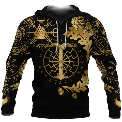 1stIceland Viking Oak Leaf Hoodie Valknut Vegvisir With Irminsul - Gold