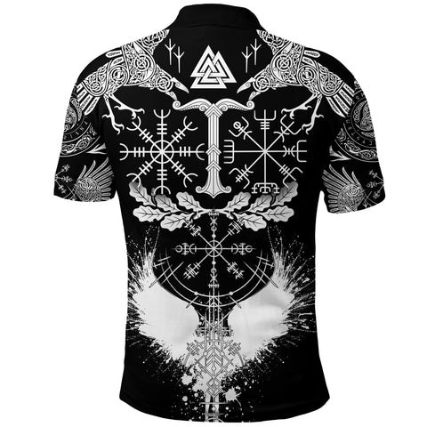 1stIceland Viking Oak Leaf Polo Shirt Valknut Vegvisir With Irminsul - Black K8