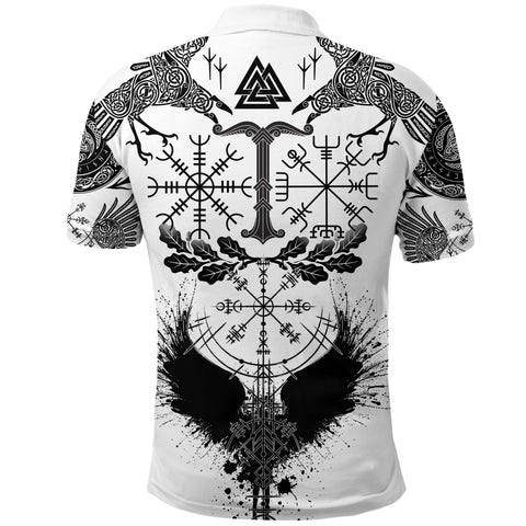 Image of 1stIceland Viking Oak Leaf Polo Shirt Valknut Vegvisir With Irminsul - White K8