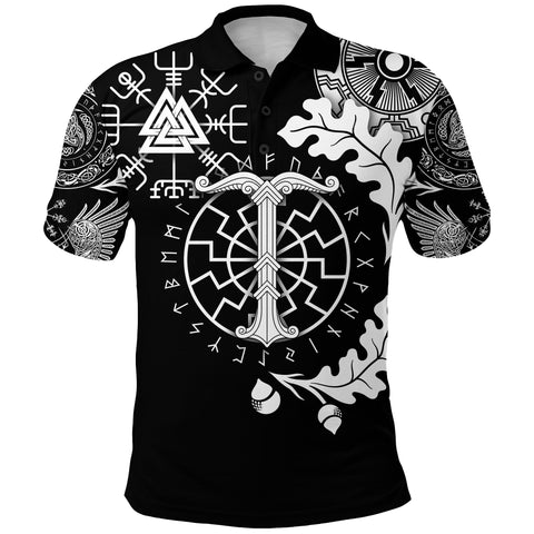 Image of 1stIceland Viking Oak Leaf Polo Shirt Valknut Vegvisir With Irminsul - Black
