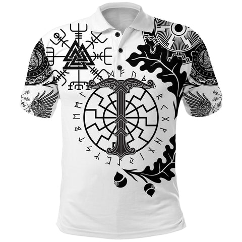 1stIceland Viking Oak Leaf Polo Shirt Valknut Vegvisir With Irminsul - White