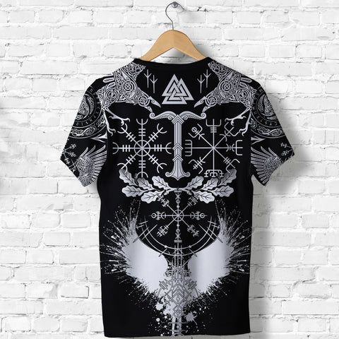 1stIceland Viking Oak Leaf T Shirt Valknut Vegvisir With Irminsul - Black K8
