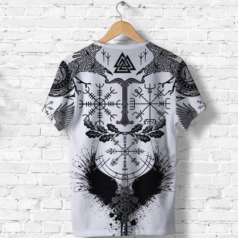 Image of 1stIceland Viking Oak Leaf T Shirt Valknut Vegvisir With Irminsul - White K8