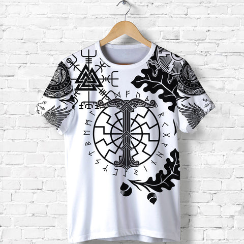 1stIceland Viking Oak Leaf T Shirt Valknut Vegvisir With Irminsul - White