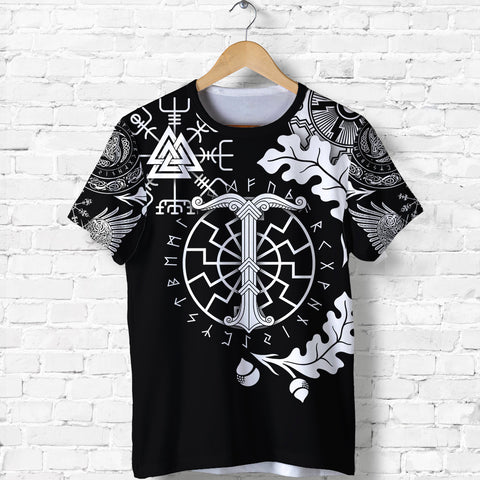 1stIceland Viking Oak Leaf T Shirt Valknut Vegvisir With Irminsul - Black