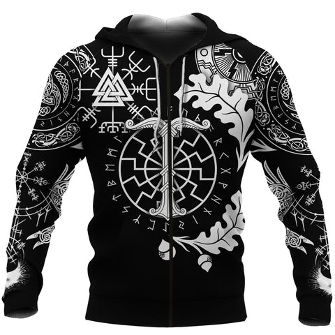 Image of 1stIceland Viking Oak Leaf Zip Hoodie Valknut Vegvisir With Irminsul - Black