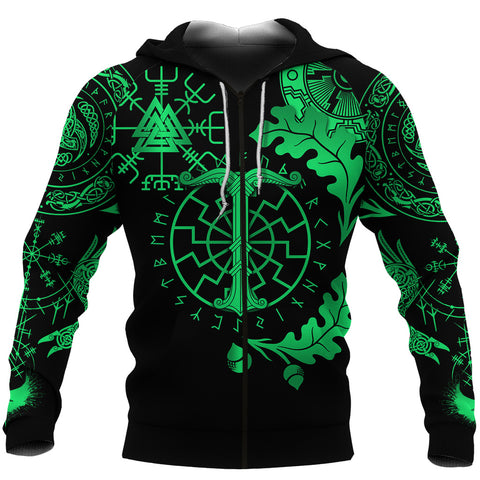 1stIceland Viking Oak Leaf Zip Hoodie Valknut Vegvisir With Irminsul - Green