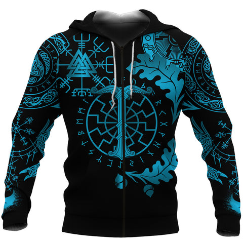 1stIceland Viking Oak Leaf Zip Hoodie Valknut Vegvisir With Irminsul - Blue