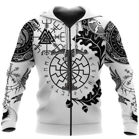 1stIceland Viking Oak Leaf Zip Hoodie Valknut Vegvisir With Irminsul - White