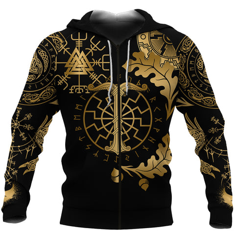 1stIceland Viking Oak Leaf Zip Hoodie Valknut Vegvisir With Irminsul - Gold