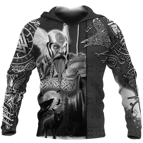 Image of 1stIceland Viking Odin Valknut Hoodie Raven Vegvisir With Fenrir - Black