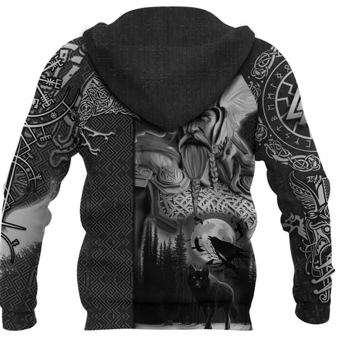 Image of 1stIceland Viking Odin Valknut Hoodie Raven Vegvisir With Fenrir - Black K8