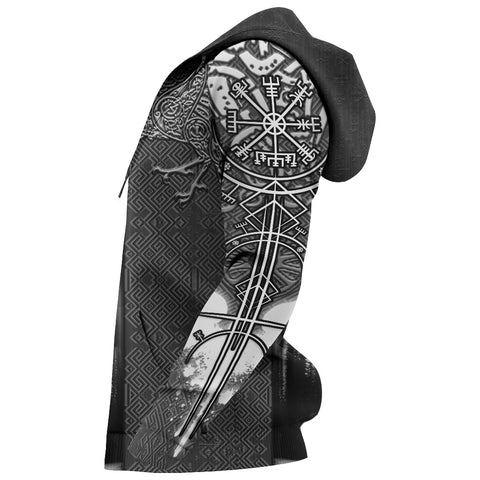 Image of 1stIceland Viking Odin Valknut Zip Hoodie Raven Vegvisir With Fenrir - Black K8