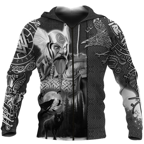 Image of 1stIceland Viking Odin Valknut Zip Hoodie Raven Vegvisir With Fenrir - Black