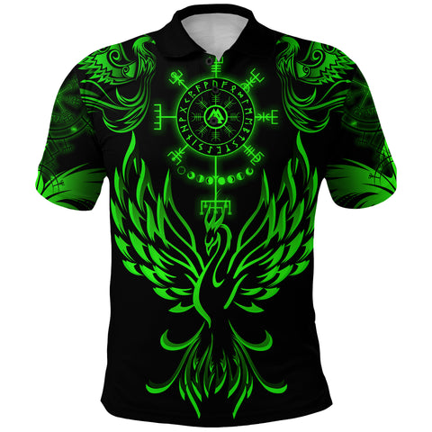 1stIceland Viking Phoenix Vegvisir Polo Shirt Helm of Awe With Valknut - Green K8 - 1st Iceland
