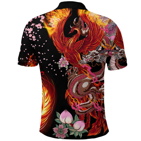 1stIceland Viking Phoenix Polo Shirt Dragon With Cherry Blossom K8 - 1st Iceland
